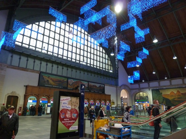Christmas decorations in the station's main hall.