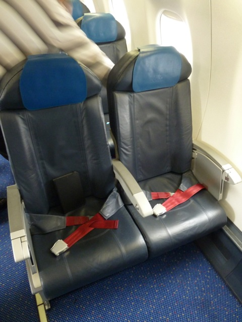 My pair of seats on the way to Amsterdam.