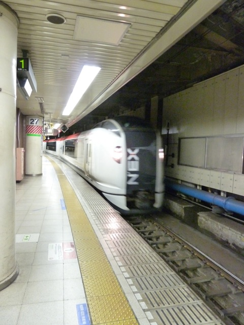My train rushes into the station on time.