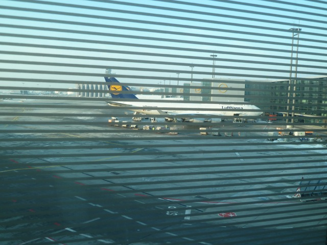 My chariot as seen through the tremendously spotter-unfriendly lounge window.