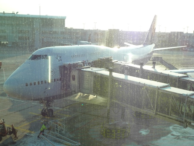 My chariot as seen through tremendously dirty windows on Z gates level of the A+ dock.