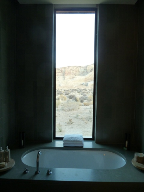 The bath and shower room is large and has a spectacular view.